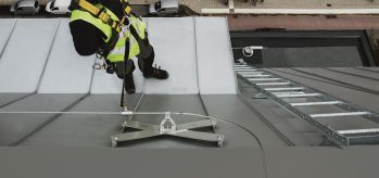 Cable lifeline SecuRope on standing seam roof